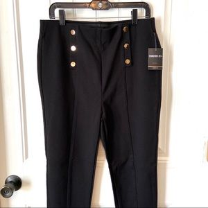 Forever 21+ Gold Button Pleated Jeggings